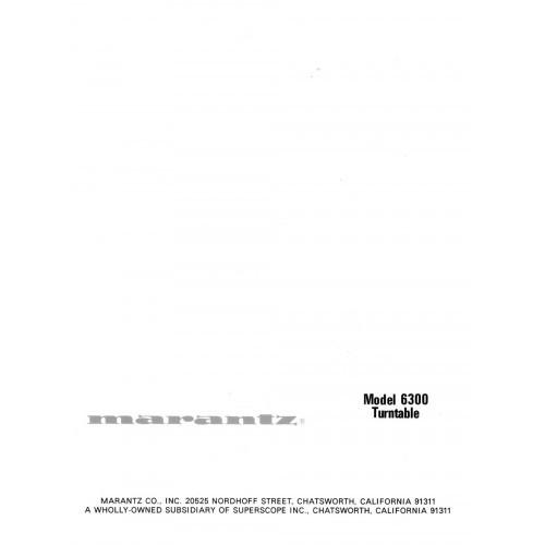 Marantz Model 6300 Turntable Owners Manual