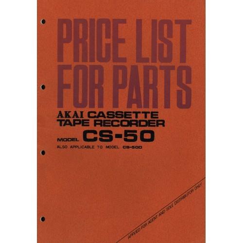 Akai Model CS-50 Price List Parts Cassette Deck Service Manual