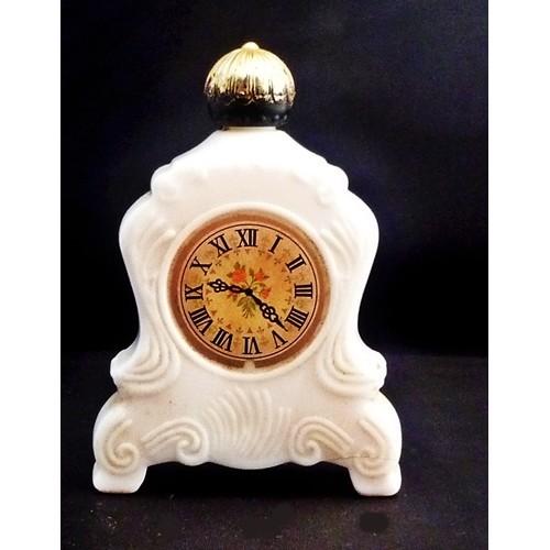 Avon Vintage Leisure Time Milk Glass Clock After shave Decanter - Bottle