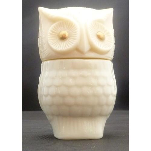 Vintage 70s Avon Cream Sachet Precious Owl Milk Glass – Jar