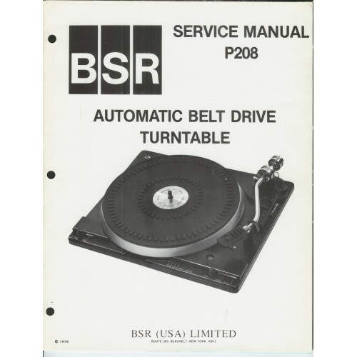 BSR Model P-208 Turntable Service Manual