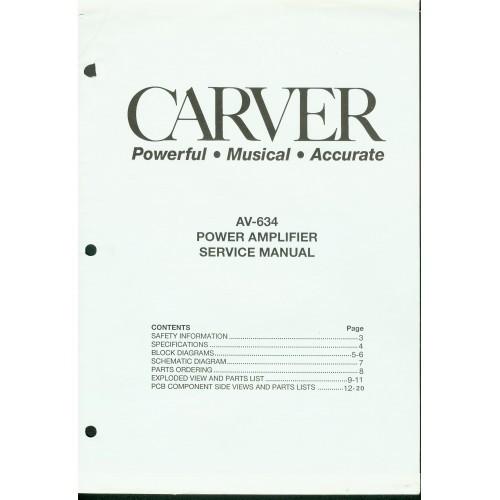 Carver Model AV-634 Amplifier Service Manual