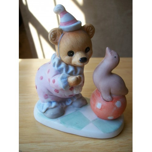 Homco Circus Bear with Seal Figurine #8881