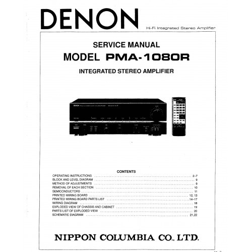Denon PMA-1080R Amplifier Service Manual