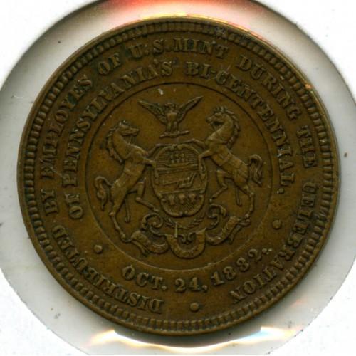 1882 BRONZE US MINT ISSUE - WILLIAM PENN BI-CENTENNIAL