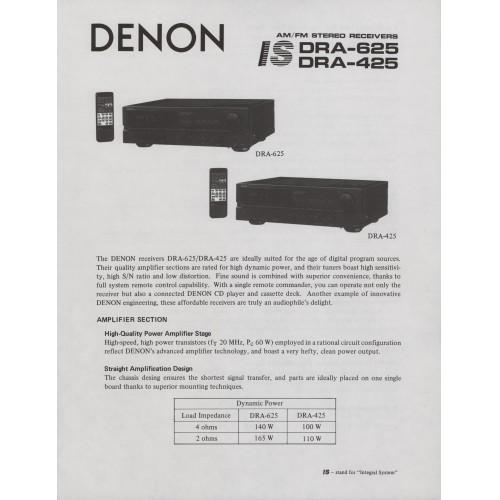 Denon DRA-625/425 Receiver Sales Brochure