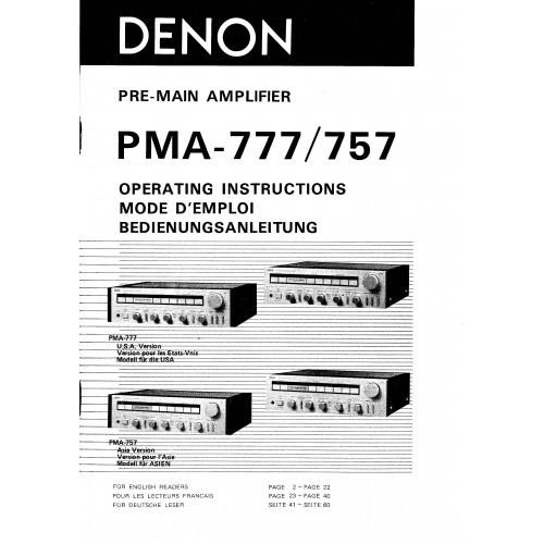 Denon PMA-777/757 Amplifier Owners Manual