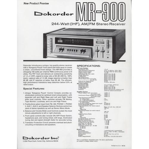 Dokorder Model MR-900 Receiver Sales Brochure