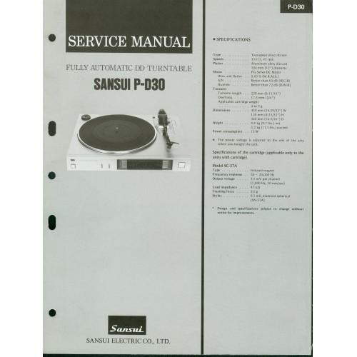 Sansui P-D30 Turntable Service Manual