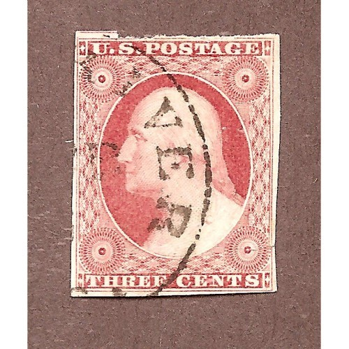US# 11a USED DULL RED SMALL TEAR 3.95 MARGIN  M-708