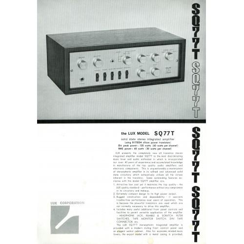 Luxman SQ77T Amplifier Sales Brochure