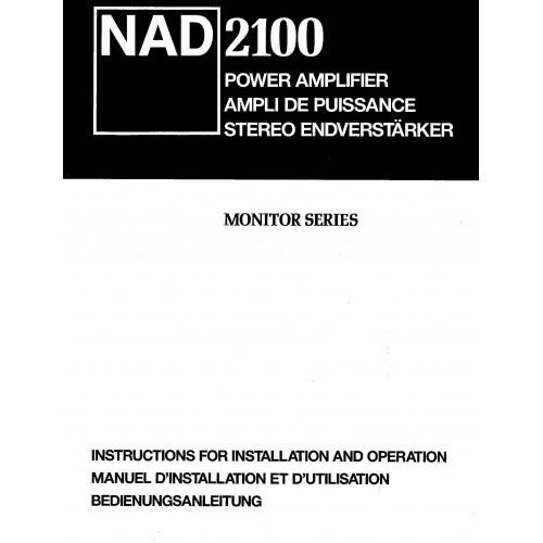 NAD Model 2100 Amplifier Owners Manual