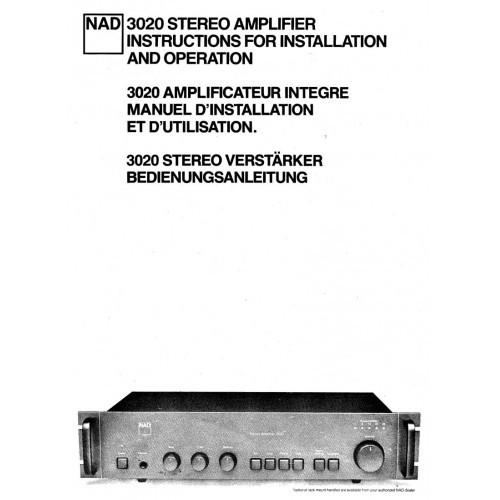 NAD Model 3020 Amplifier Owners Manual