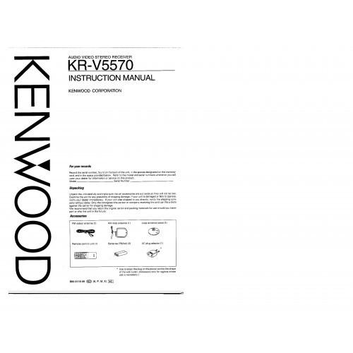 Kenwood KR-V5570 Receiver Owners Manual