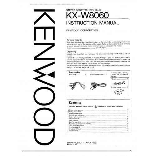 Kenwood KX-W8060 Cassette Deck Owners Manual
