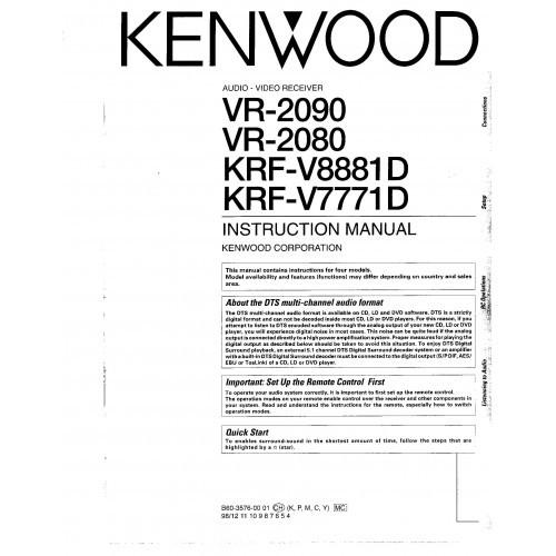 Kenwood VR-2090/2080/KRF-V8881D/V7771D Receiver Owners Manual