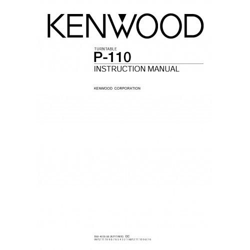 Kenwood P-110 Turntable Owners Manual
