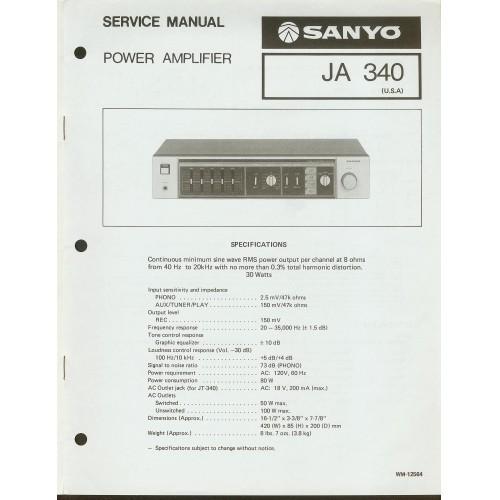 Sanyo JA-340 Amplifier Service Manual