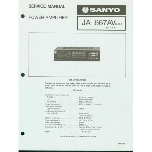 Sanyo JA-667AV Amplifier Service Manual