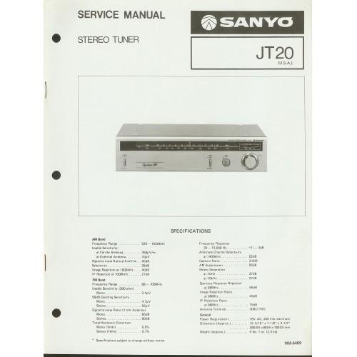 Sanyo JT-20 Tuner Service Manual