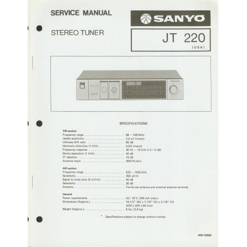 Sanyo JT-220 Tuner Service Manual