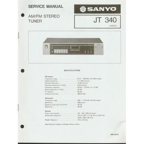 Sanyo JT-340 Tuner Service Manual