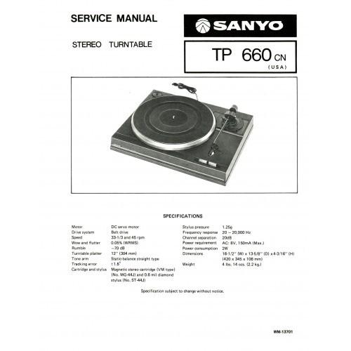 Sanyo TP-660CN Turntable Service Manual