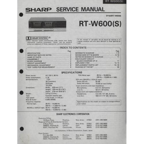 Sharp RT-W600 Cassette Deck Service Manual