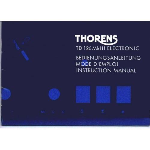Thorens TD-126 MKIII Turntable Owners Manual