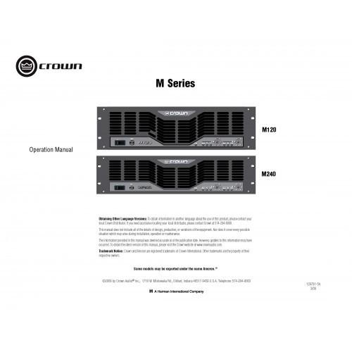 Crown M120/M240 Amplifier Owners Manual