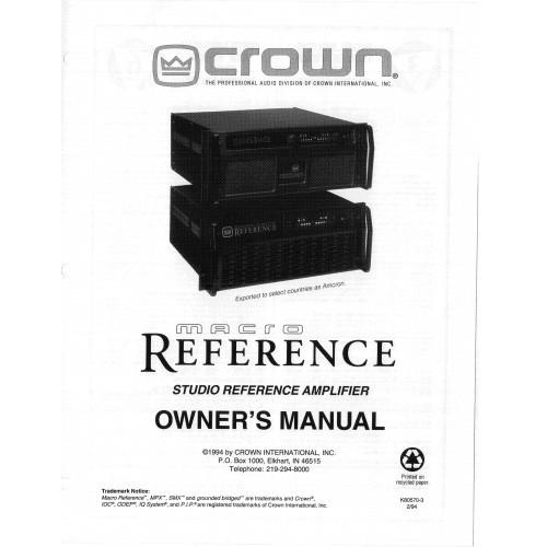 Crown Macro Amplifier Owners Manual