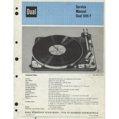 Dual Model 1015 F  Turntable Service Manual
