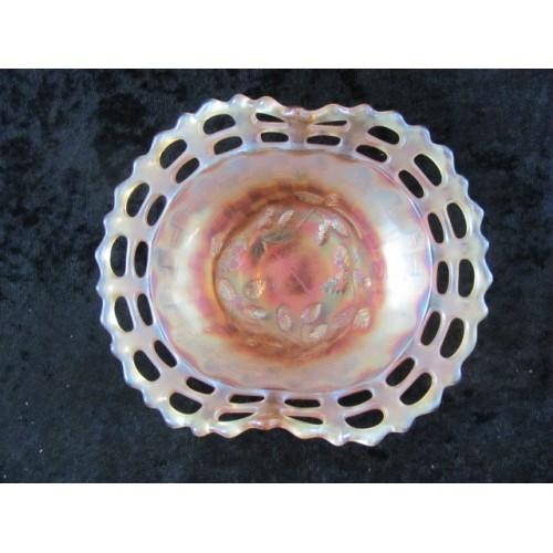 "CARNIVAL GLASS MARIGOLD PEACH COLOR PINECONE GLASS BASKET 7-1/4""X5-1/2"