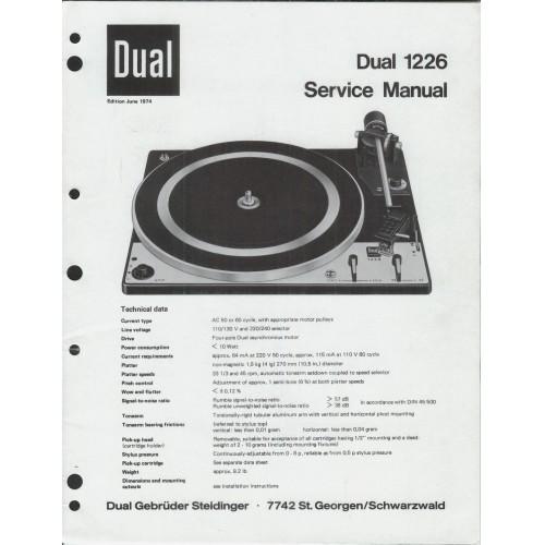 Dual Model 1226 Turntable Service Manual