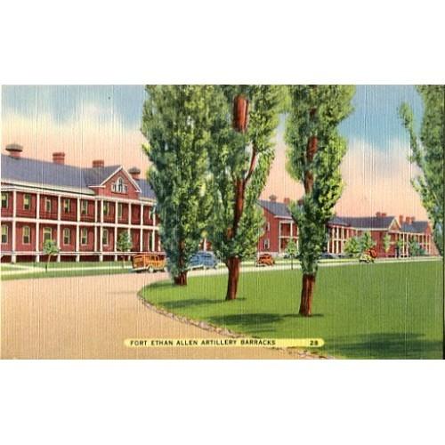 Linen Postcard. Fort Ethan Allen Artillery Barracks