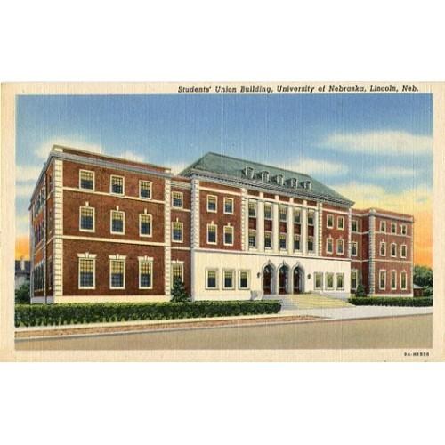 Linen Postcard. Students' Union Building, University of Nebraska, Lincoln, Neb.