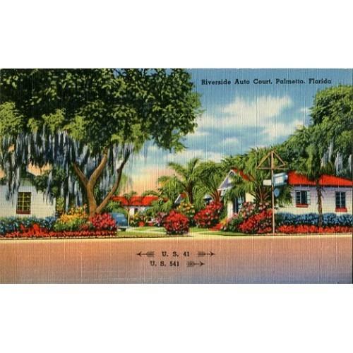Linen Postcard. Riverside Auto Court, Palmetto, Florida