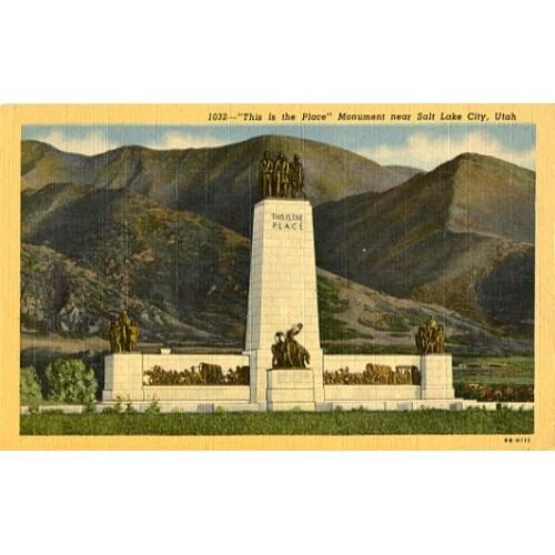 Linen Postcard. This is the Place Monument near Salt Lake City, Utah