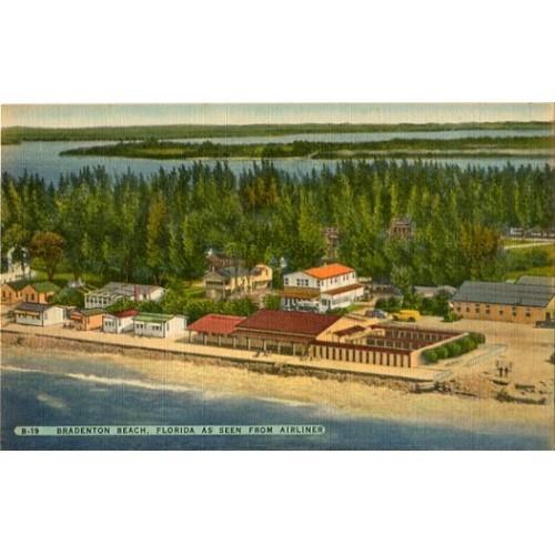 Linen Postcard. Bradenton Beach, Florida As Seen From Airliner