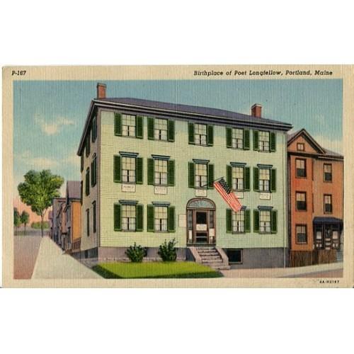 Linen Postcard. Birthplace of Poet Longfellow, Portland, Maine