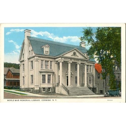 White Border Postcard. World War Memorial Library, Corning, N.Y.