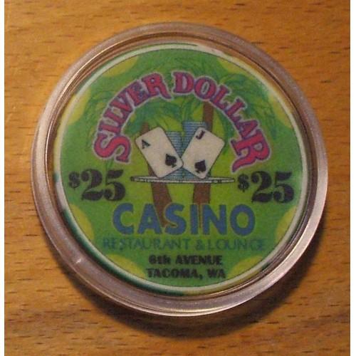 $25. Silver Dollar Casino Chip - 6th Avenue,Tacoma,- Shipping Discounts
