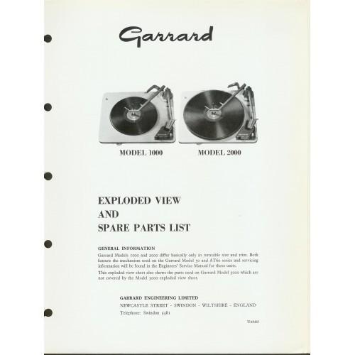 Garrard Model 1000/2000 Turntable Service Manual