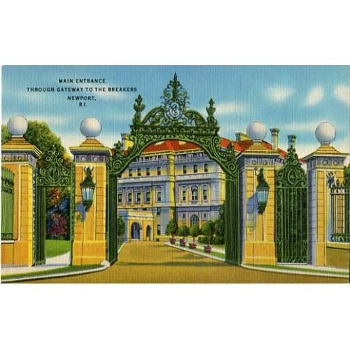 Linen Postcard. Main Entrance Through Gateway to the Breakers, Newport, R.I.