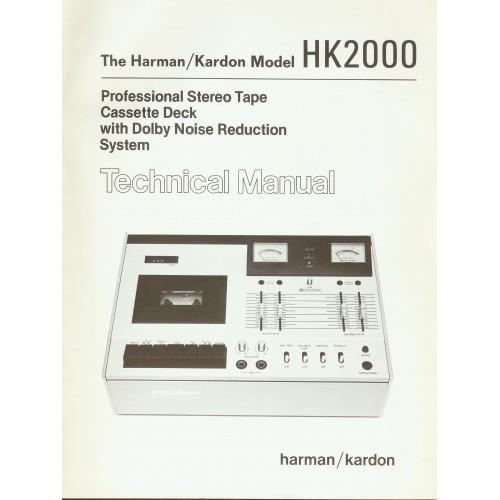 Harman Kardon Model HK-2000 Cassette Deck  Service Manual