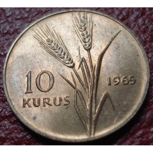 1965 TURKEY 10 KURUS IN UNCIRCULATED CONDITION