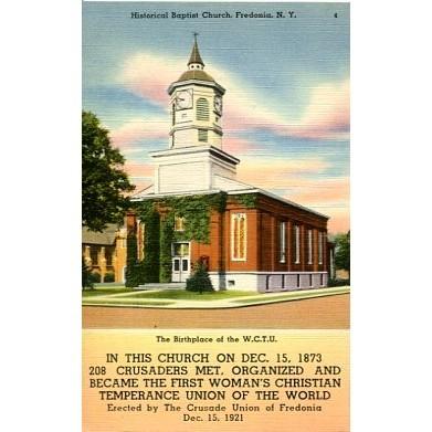 Linen Postcard. Historical Baptist Church, Fredonia, N.Y.