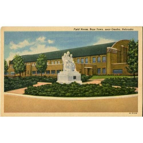 Linen Postcard. Field House, Boys Town, near Omaha, Nebraska