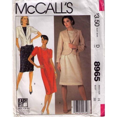 1984 Jacket & Dress Pattern 8965-m Size 16 Uncut