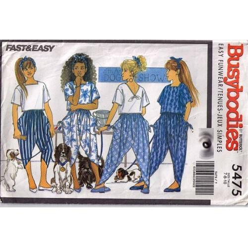 1991 TOP PANTS & HEADBAND Pattern 5475-b Girl Sizes 7-8-10 UNCUT
